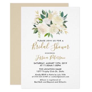 Watercolor-weiße Blumen BridalShower Einladungen