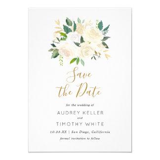 Watercolor-weiße Blumen-Save the Date Karte