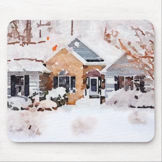 Watercolor-Winter-Zuhause Mousepad