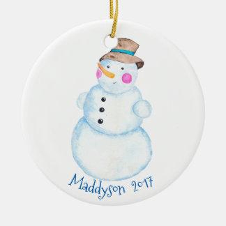 Watercolor-WinterSnowman personalisiert Keramik Ornament