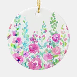 Watercolorabstraktes Blumenbett Rundes Keramik Ornament