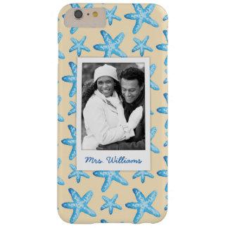 Watercolorblaue Starfish | Ihr Foto u. Name Barely There iPhone 6 Plus Hülle