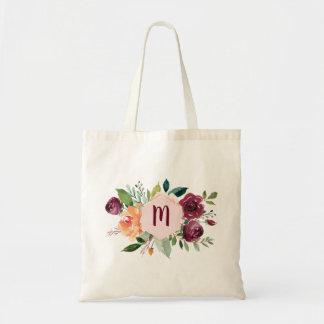 Watercolorblumenchic-Monogramm-Taschen-Tasche Tragetasche