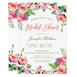 Watercolorblumenwreath-Rosa-Skript-Brautparty 12,7 X 17,8 Cm Einladungskarte