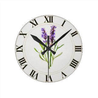 Watercolored Lavendel-Grün botanisches Clockface Runde Wanduhr