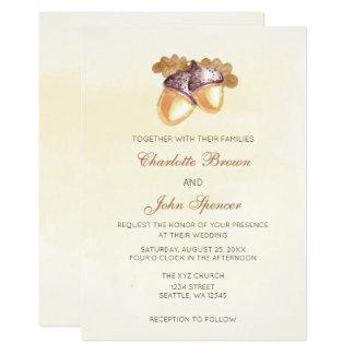 Watercoloreicheleichen-Blätter-Hochzeit im Herbst 12,7 X 17,8 Cm Einladungskarte