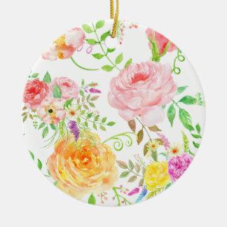Watercolorrosa- und -pfirsich-Rosenmuster Rundes Keramik Ornament