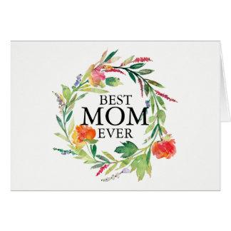 Watercolors-Blumen winden besten Mamma-überhaupt Karte