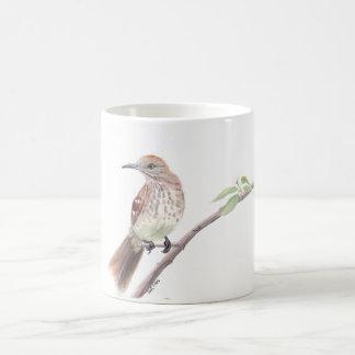 Watercolorvogel-Tasse: Brown Thrasher Kaffeetasse