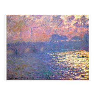 Waterloo-Brücke, Sonnenlicht-Effekt durch Claude Postkarte