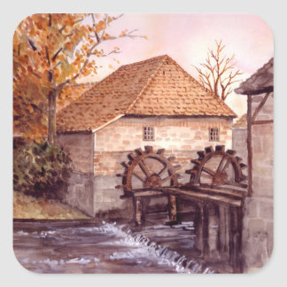 Watermill Aquarell-Malerei von Farida Greenfield Quadratischer Aufkleber