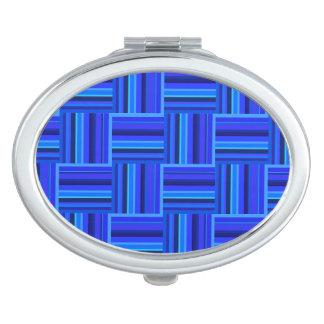Webartmuster der blauen Streifen Taschenspiegel