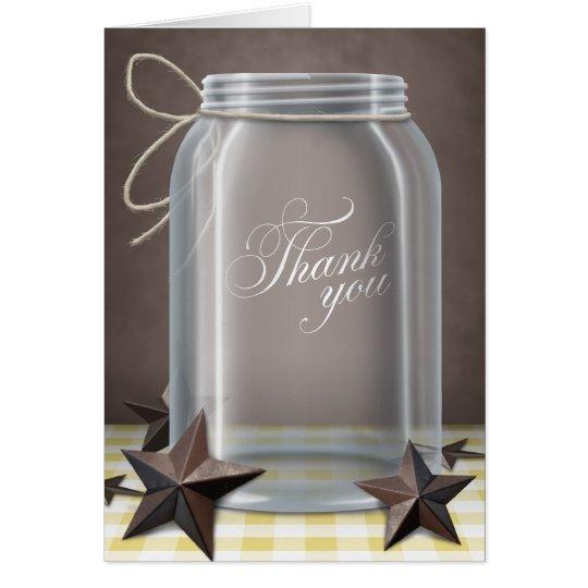 Weckglas-danken rustikales Stern-Gelb Ihnen Karten