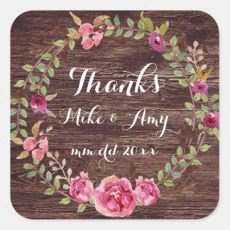 Wedding Aufkleber-Dank-Aufkleber danken Ihnen Quadratischer Aufkleber