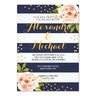 Floral Navy Blue Stripes & Gold Foil Dots Wedding
