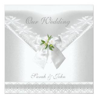 Wedding Blumenspitze des weißen Einladungs-weißen Quadratische 13,3 Cm Einladungskarte