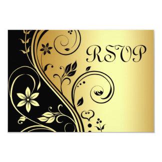 Wedding BlumenuAwg-Schwarz-Goldeinladung Karte
