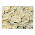 Wedding danke Mamma-und Vati-Karte, weiße Rosen