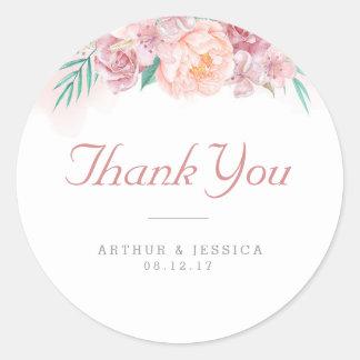 Wedding danken, die Ihnen, erröten   und Blüte Runder Aufkleber