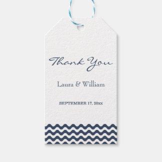 Wedding danken Ihnen die Zickzack Marine-Welle der Geschenkanhänger