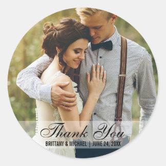 Wedding danken Ihnen Foto-Bevorzugungs-Aufkleber R Runder Aufkleber
