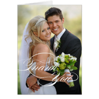 WEDDING DANKEN IHNEN FOTO GEFALTETES WEISSES KARTE
