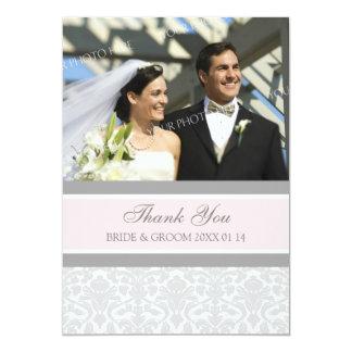 Wedding danken Ihnen Foto-Karten-Grau-Damast 12,7 X 17,8 Cm Einladungskarte