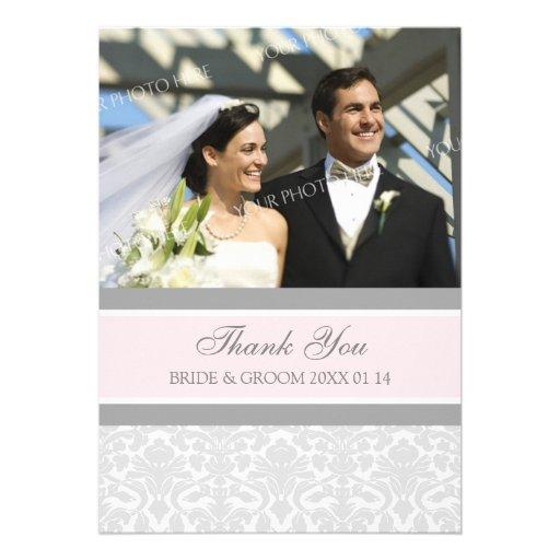 Wedding danken Ihnen Foto-Karten-Grau-Damast Individuelle Einladung