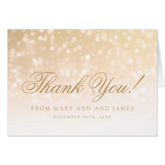 """Wedding """"danken Ihnen"""" GoldBokeh Schein-Lichter Grußkarte"""