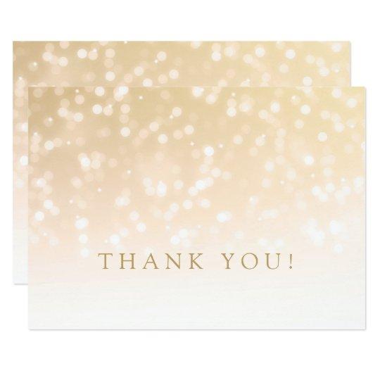 Wedding danken Ihnen, GoldBokeh Schein-Lichter zu 11,4 X 15,9 Cm Einladungskarte