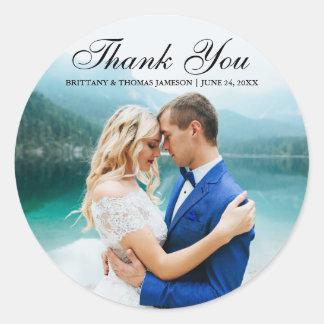 Wedding danken Ihnen moderner Foto-Aufkleber BT R Runder Aufkleber