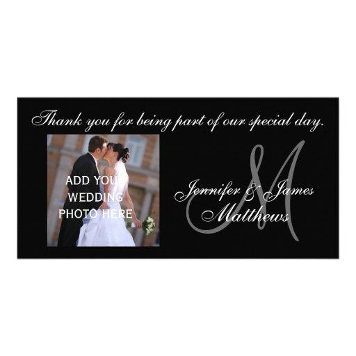 Wedding danken Ihnen Monogramm und Mitteilung Fotokarten