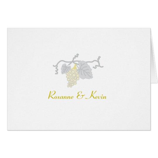 Wedding danken Ihnen: Weintrauben Mitteilungskarte