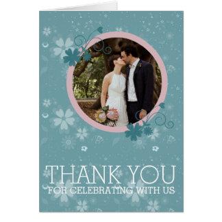 Wedding danken Ihnen Winter-blaue BlumenFoto-Karte Grußkarte