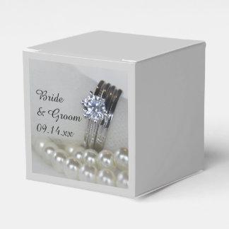 Wedding Diamant-Ringe und weiße Perlen Geschenkschachtel