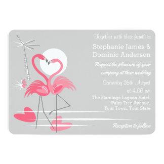 Wedding Einladungslandschaft der Flamingo-Liebe Karte