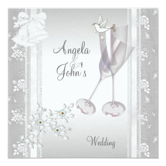 Wedding elegante silberne weiße Spitze mit Blumen Karte