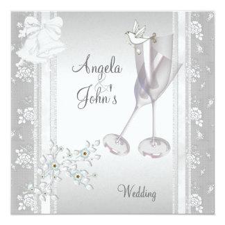 Wedding elegante silberne weiße Spitze mit Blumen Quadratische 13,3 Cm Einladungskarte