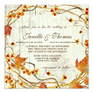 Wedding Fall rustikales elegantes hölzernes Karte