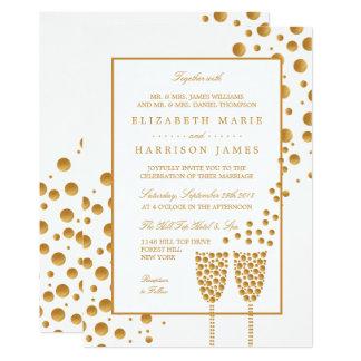 Wedding Goldchampagne-Blasen Karte