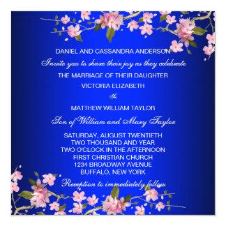 Wedding Königsblau-japanische Kirschblüten Quadratische 13,3 Cm Einladungskarte