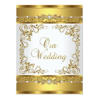 Wedding laden metallischen Goldweiß-Diamanten ein 16,5 X 22,2 Cm Einladungskarte