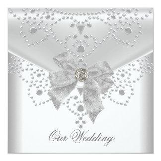 Wedding laden weißes silbernes ein, Bogen-Juwel zu Quadratische 13,3 Cm Einladungskarte