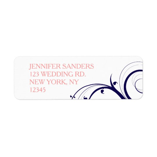 Wedding Marine-Blau-korallenroter Wirbel Rückversand-Adressaufkleber