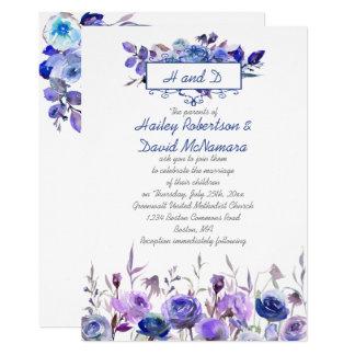 Wedding Marine-Blau-lädt die lila Lavendel-Rosen 12,7 X 17,8 Cm Einladungskarte