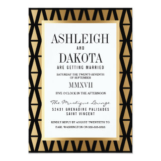 Wedding | modernes Gold u. schwarzes geometrisches 12,7 X 17,8 Cm Einladungskarte