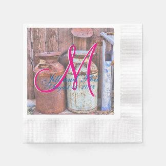 Wedding Ranch-Kuh-Vintage Metallmilch-Krüge Papierservietten