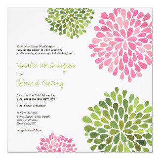 Wedding rosa u. grüne Blume blüht Einladung Quadratische 13,3 Cm Einladungskarte