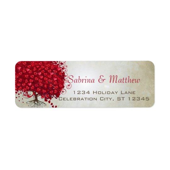 Wedding rote Herz-Blatt-Baum-Rücksendeadresse Rückversand-Adressaufkleber