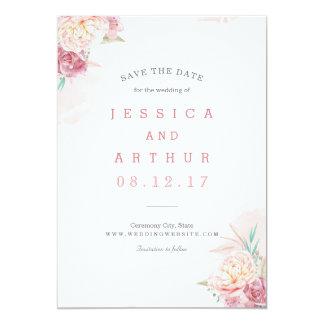 Wedding Save the Date   erröten Sie und Blüte 12,7 X 17,8 Cm Einladungskarte